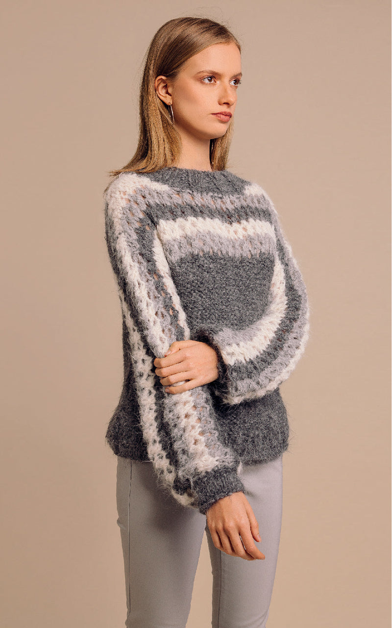 Mantari Gloria Loose Knit Alpaca Stripe Puff Sleeve Sweater Grey