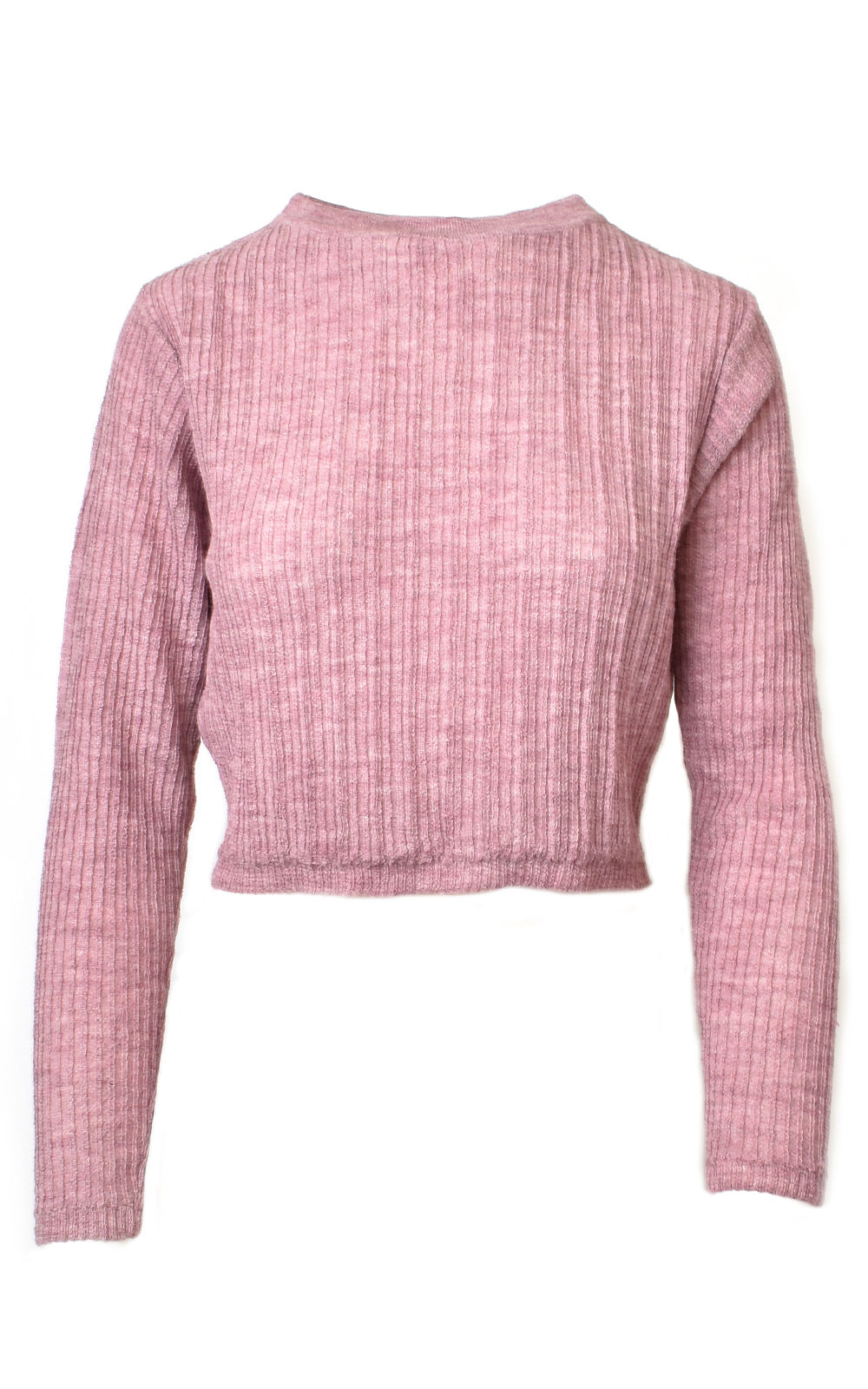 Mantari Laura Alpaca Ribbed Cropped Sweater Pink