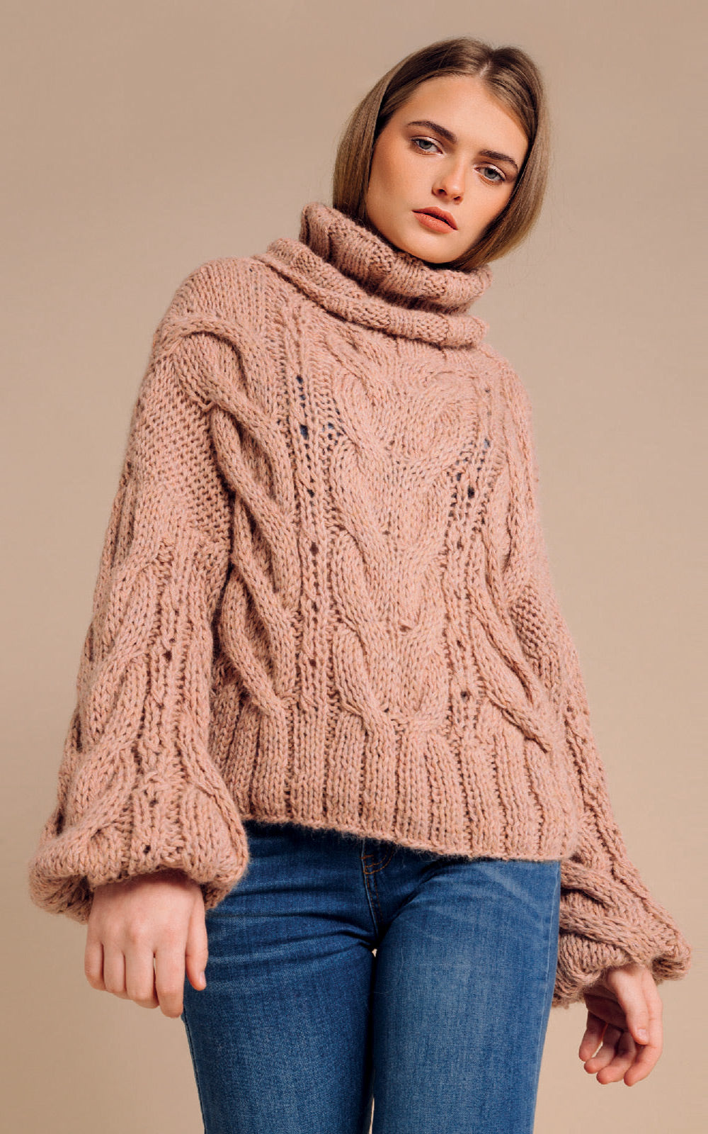 Mantari Rosa Alpaca Cable Knit Puff Sleeve Turtleneck Sweater Dusty Pink