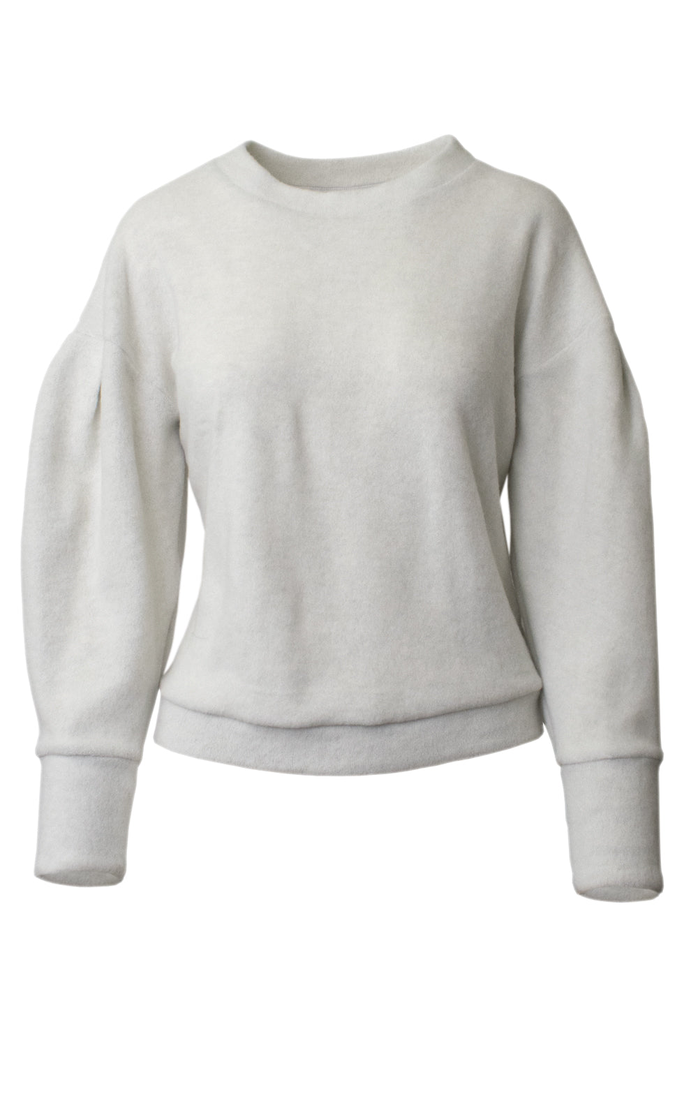 McGuire Bella Bubble Sleeve Fuzzy Fleece Crewneck Sweatshirt Front Grey Gardens