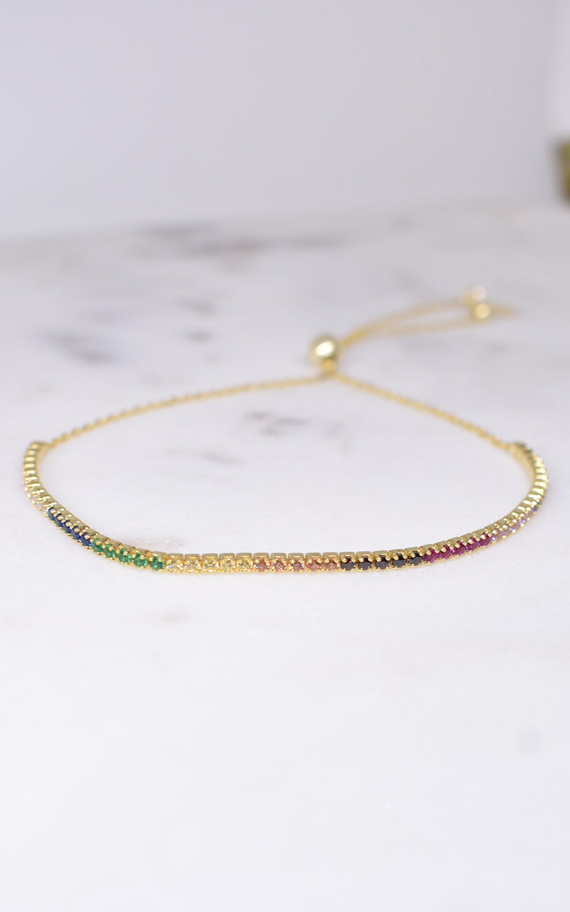Shashi Rainbow Crystal Bar 18k Gold Vermeil Slide Bracelet