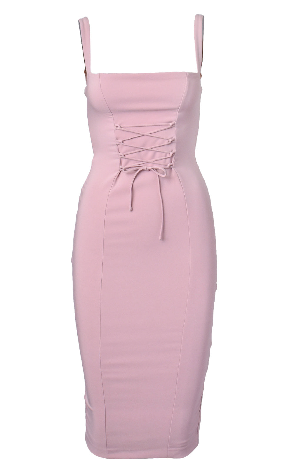 Nookie London Lace Up Front Midi Dress Dusty Rose