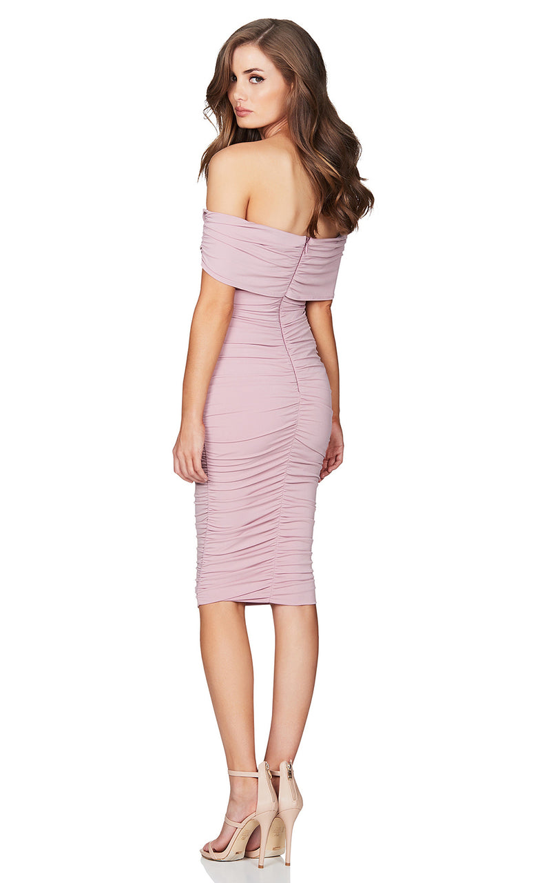 Nookie Dusty Rose Rio Off-Shoulder Midi Dress