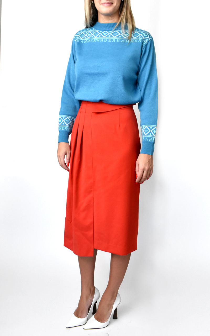 Asymmetrical Pleated Pencil Skirt