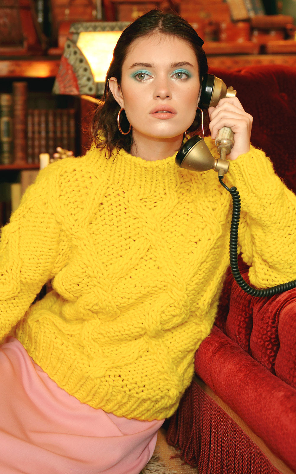 Stella Pardo Yasmine Yellow Cable Knit Wool Sweater
