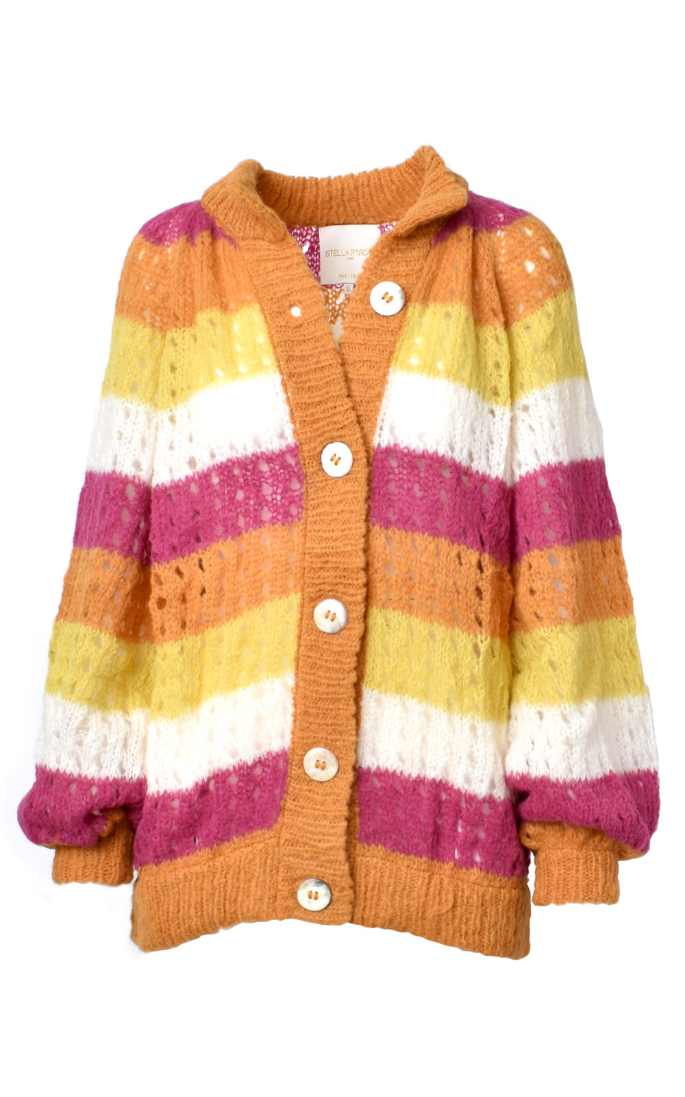Stella Pardo Esme Loose Knit Oversized Alpaca Wool Cardigan Burnt Orange Stripe