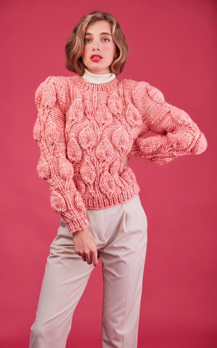 Leanne Candy Pink Leaf Pattern Textured Alpaca Wool Sweater