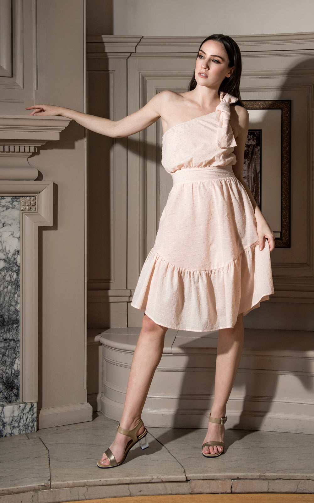 Stillwater Cheval D'Or Rose Pink One Shoulder Bow Midi Dress Rose