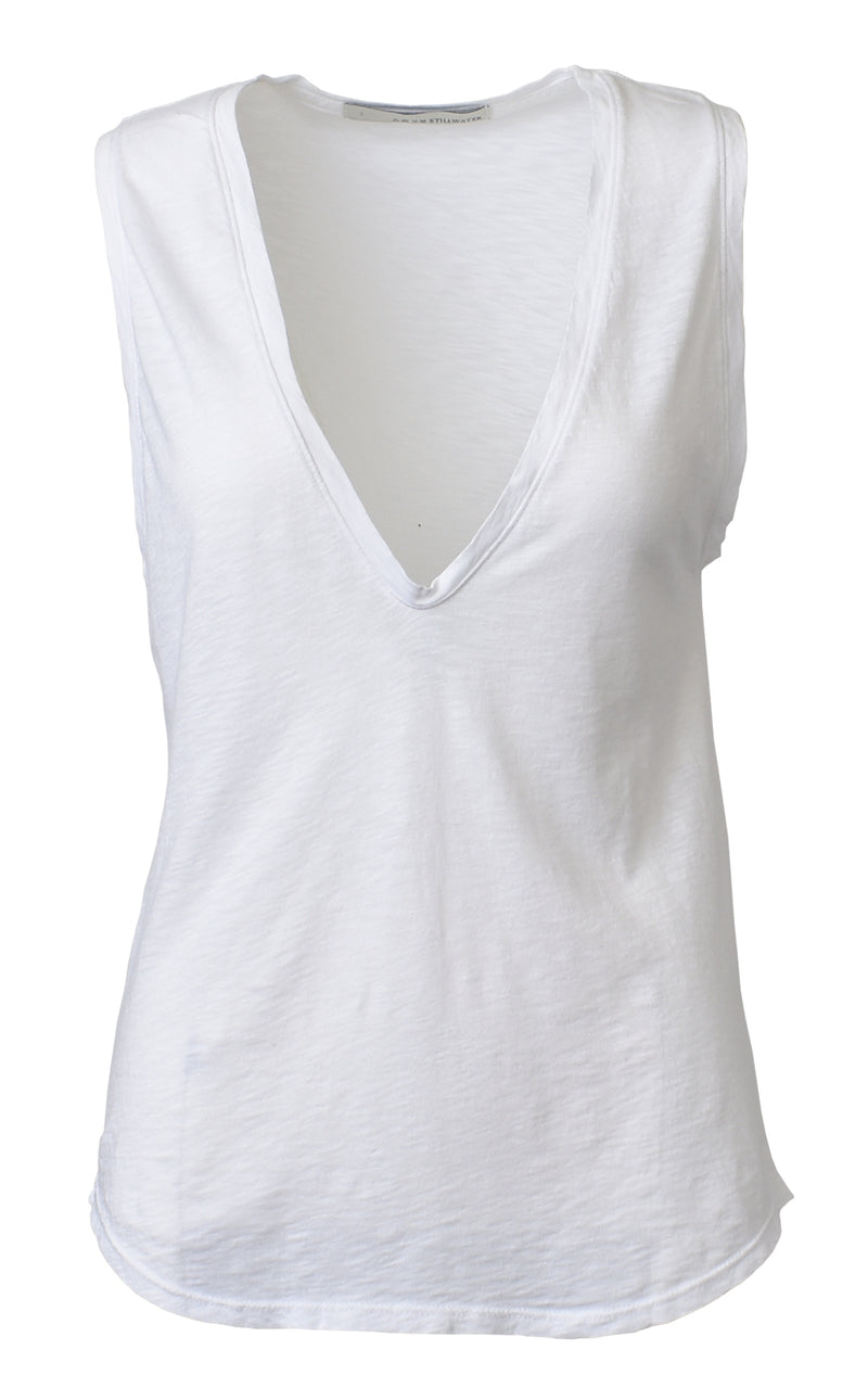 Stillwater Deep V Neck Cotton Tank Top White