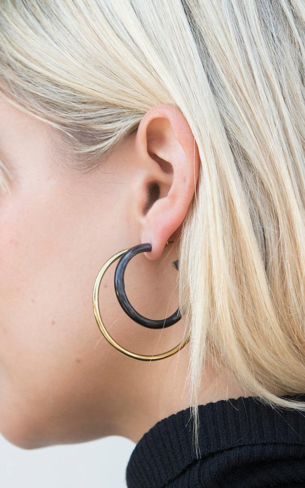 Soko Recycled Brass & Black Reclaimed Bone Mixed Material Gio Hoop Earrings