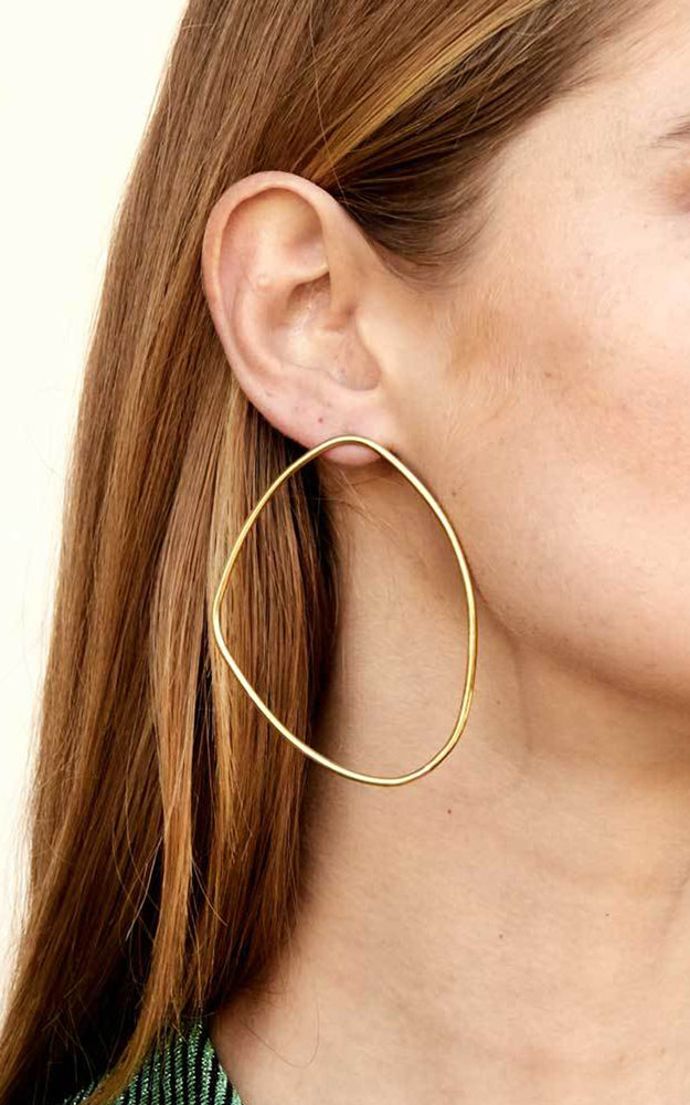 Soko Maxi Sabi Outline Recycled Brass Asymmetrical Stud Earrings
