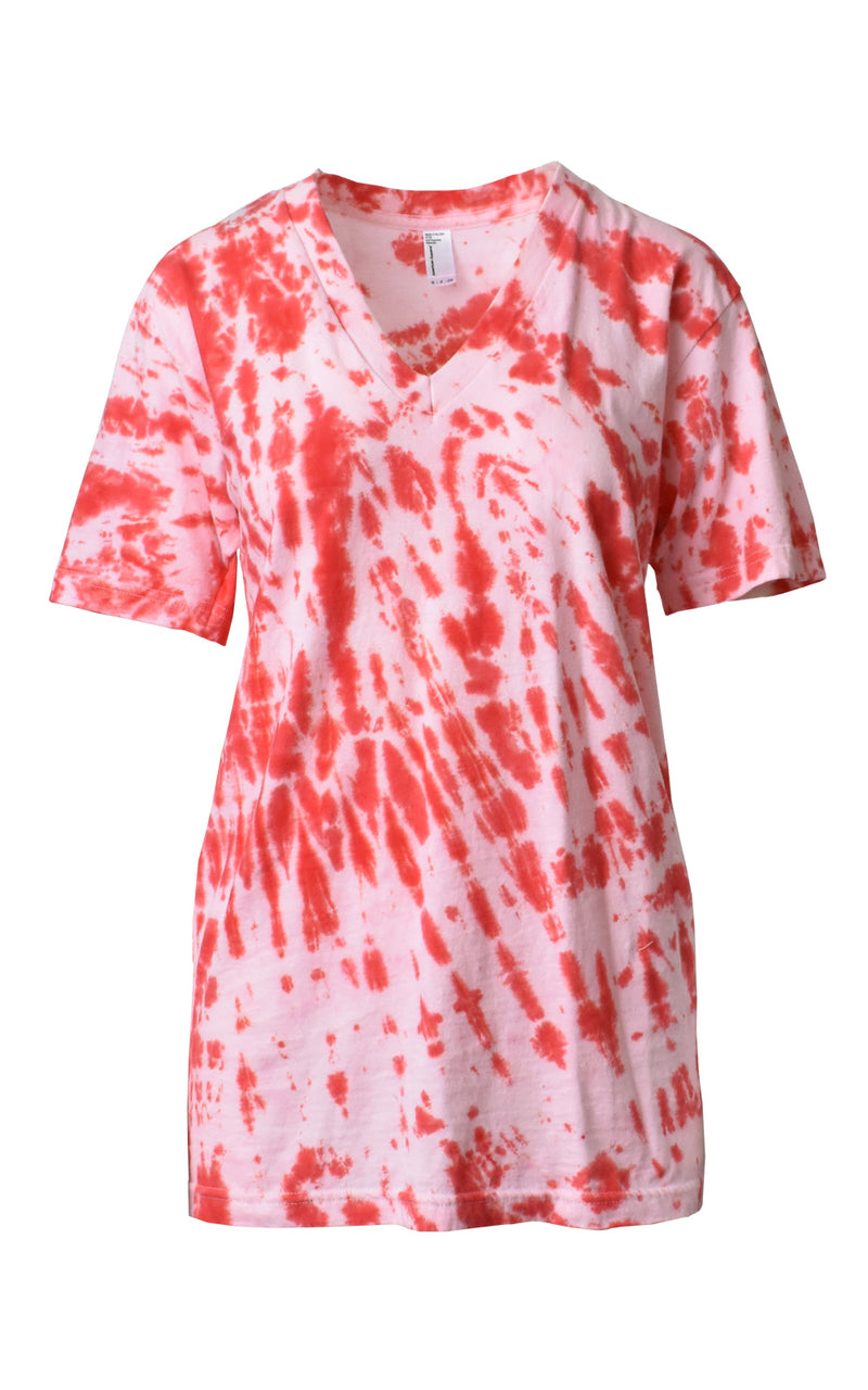 Pink & Red Tie-Dye V-Neck Boyfriend Tee Pink/Red Tie-Dye