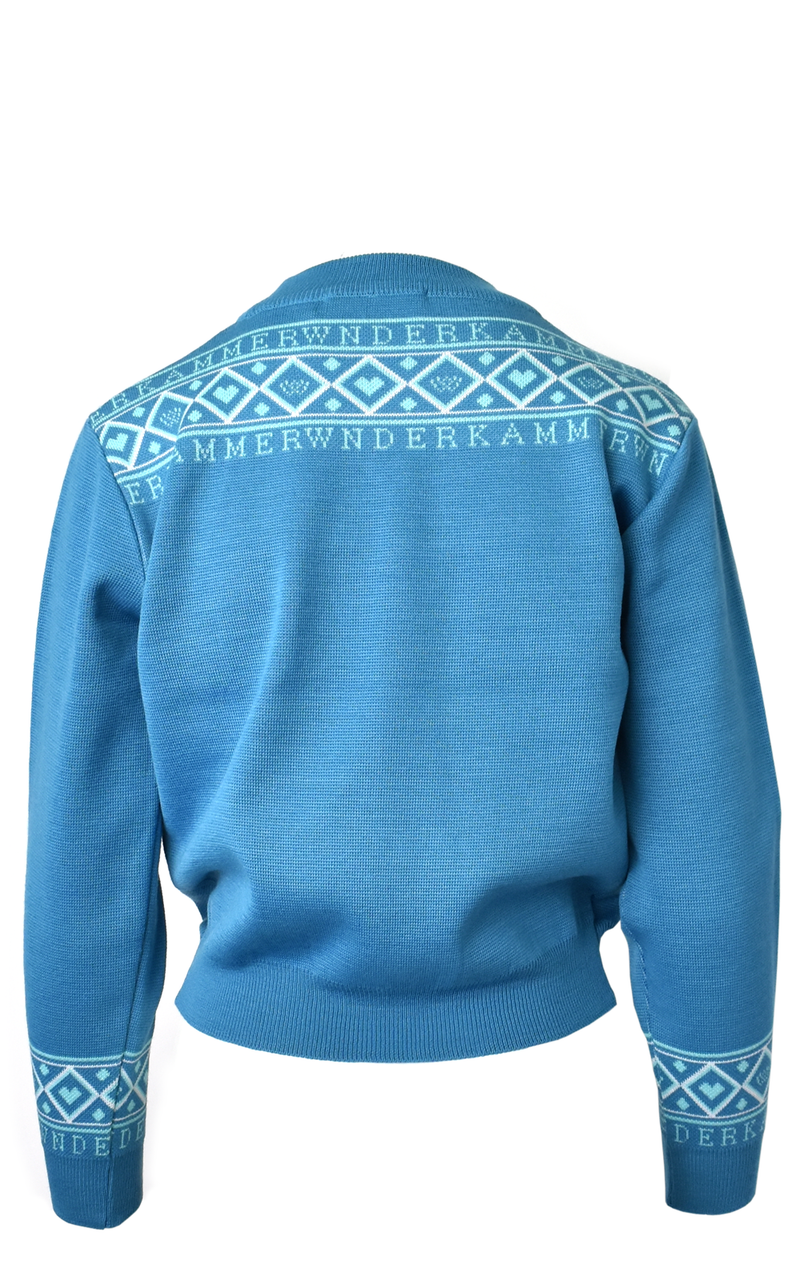 WNDERKAMMER Medium Blue Branded Graphic Jacquard Argyle Sweater