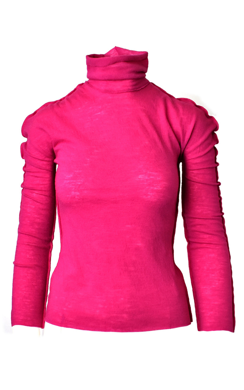 WNDERKAMMER Dark Pink Wool Puff Shoulder Mock Turtleneck One-Line Inside Out Top