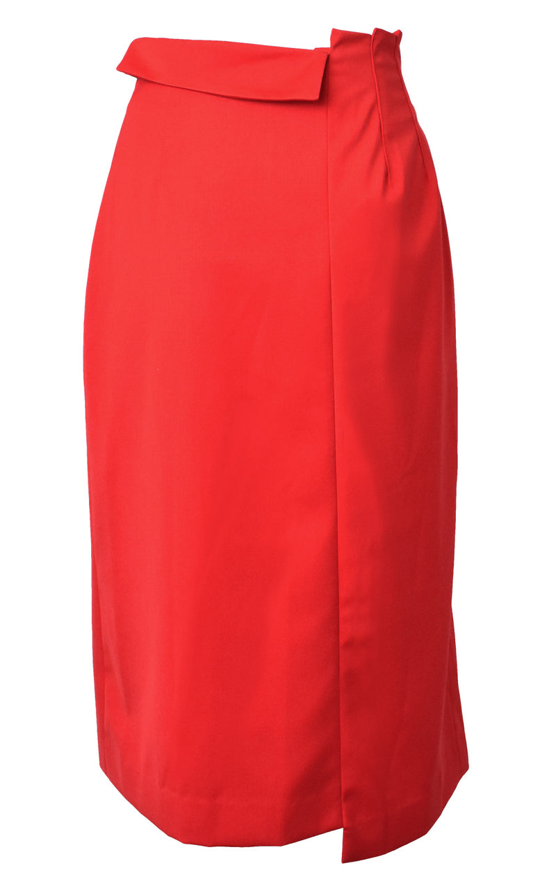 WNDERKAMMER Red Asymmetrical Tuck Detail Pleated  Front Slit Pencil Skirt