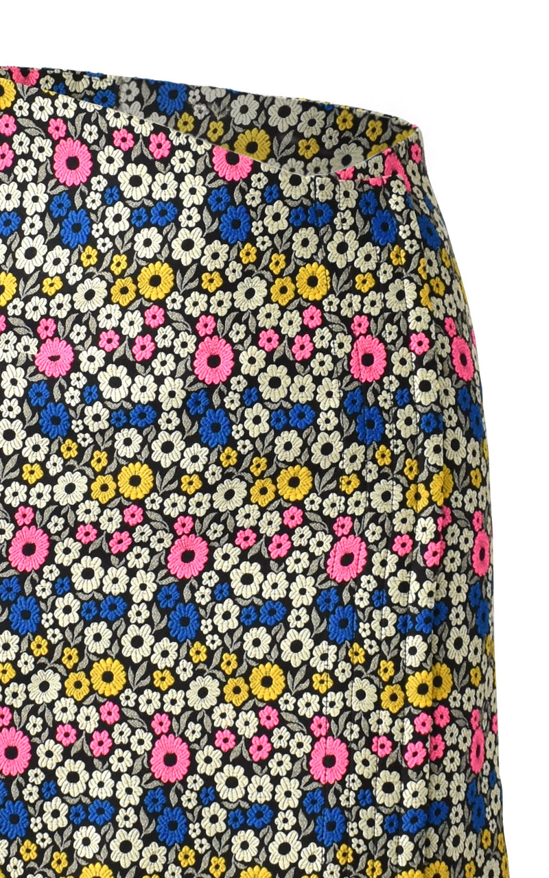 WNDERKAMMER High Waisted Jacquard Black Floral Midi Pencil Skirt