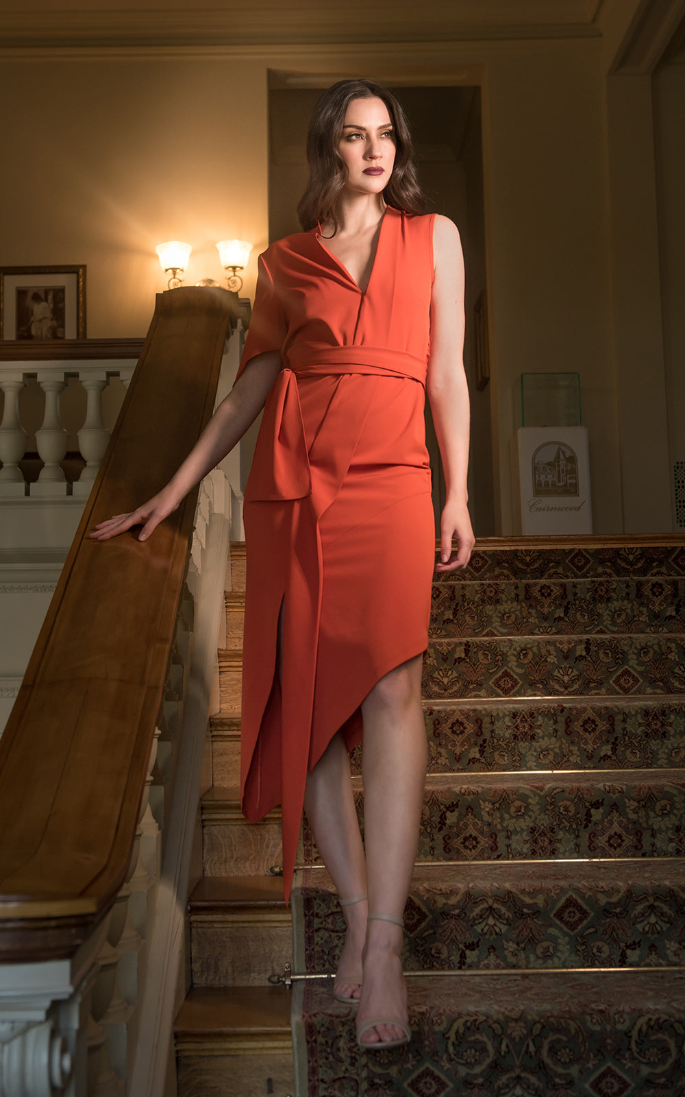 Red Asymmetrical Wrap Tie Dress Model