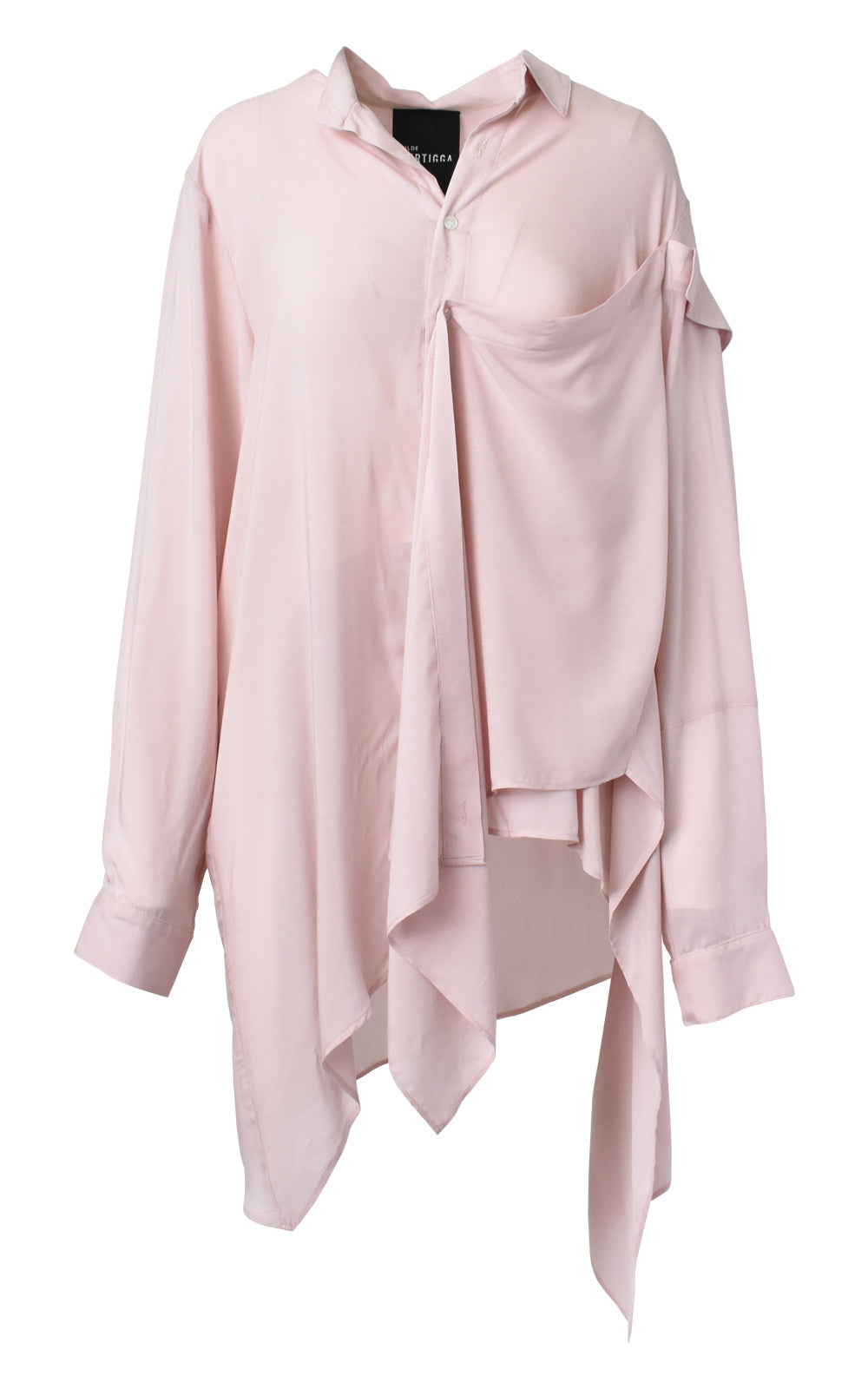 Falling Collar Asymmetrical Draped Button Down Shirt Dust Pink