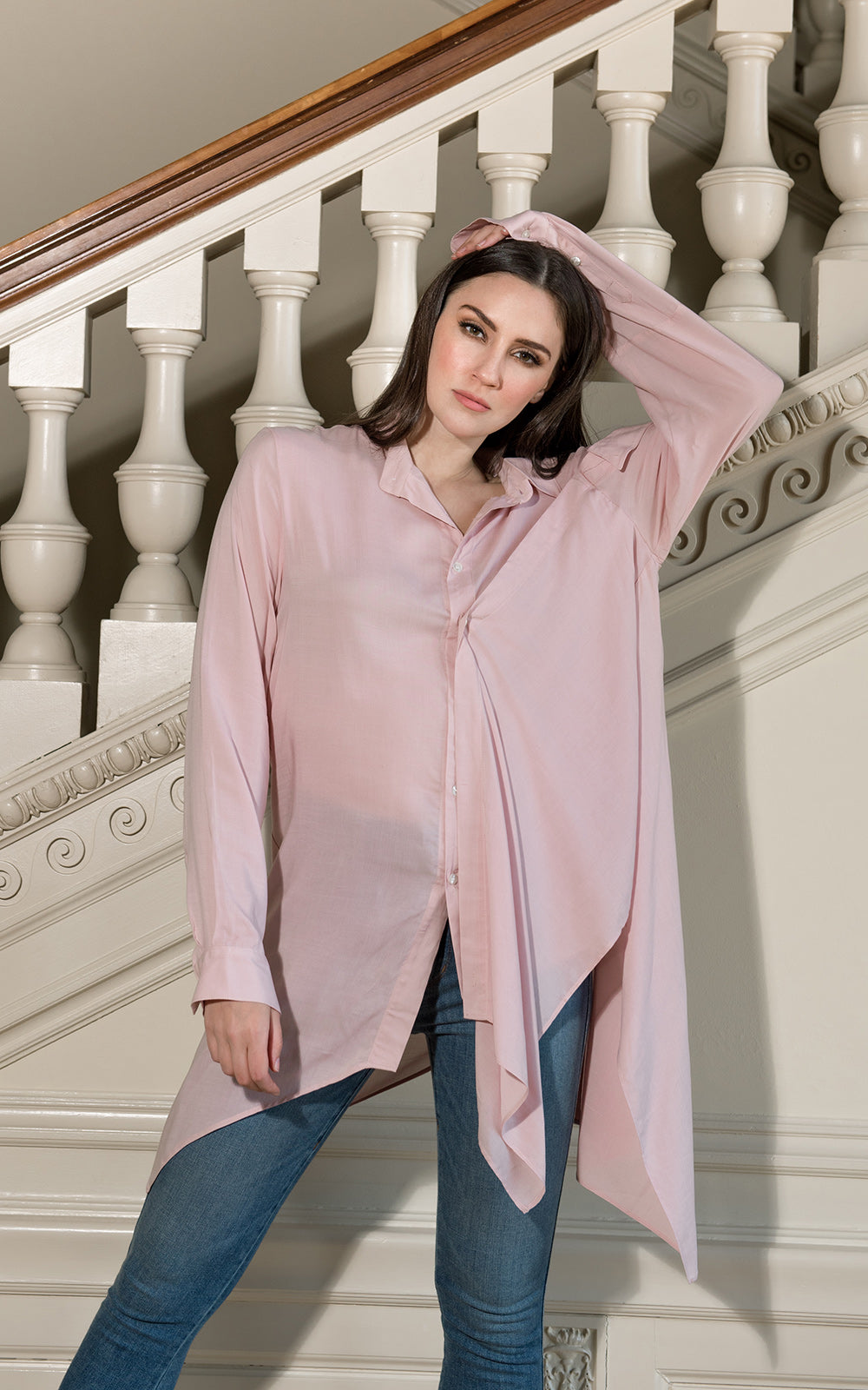 Falling Collar Asymmetrical Shirt