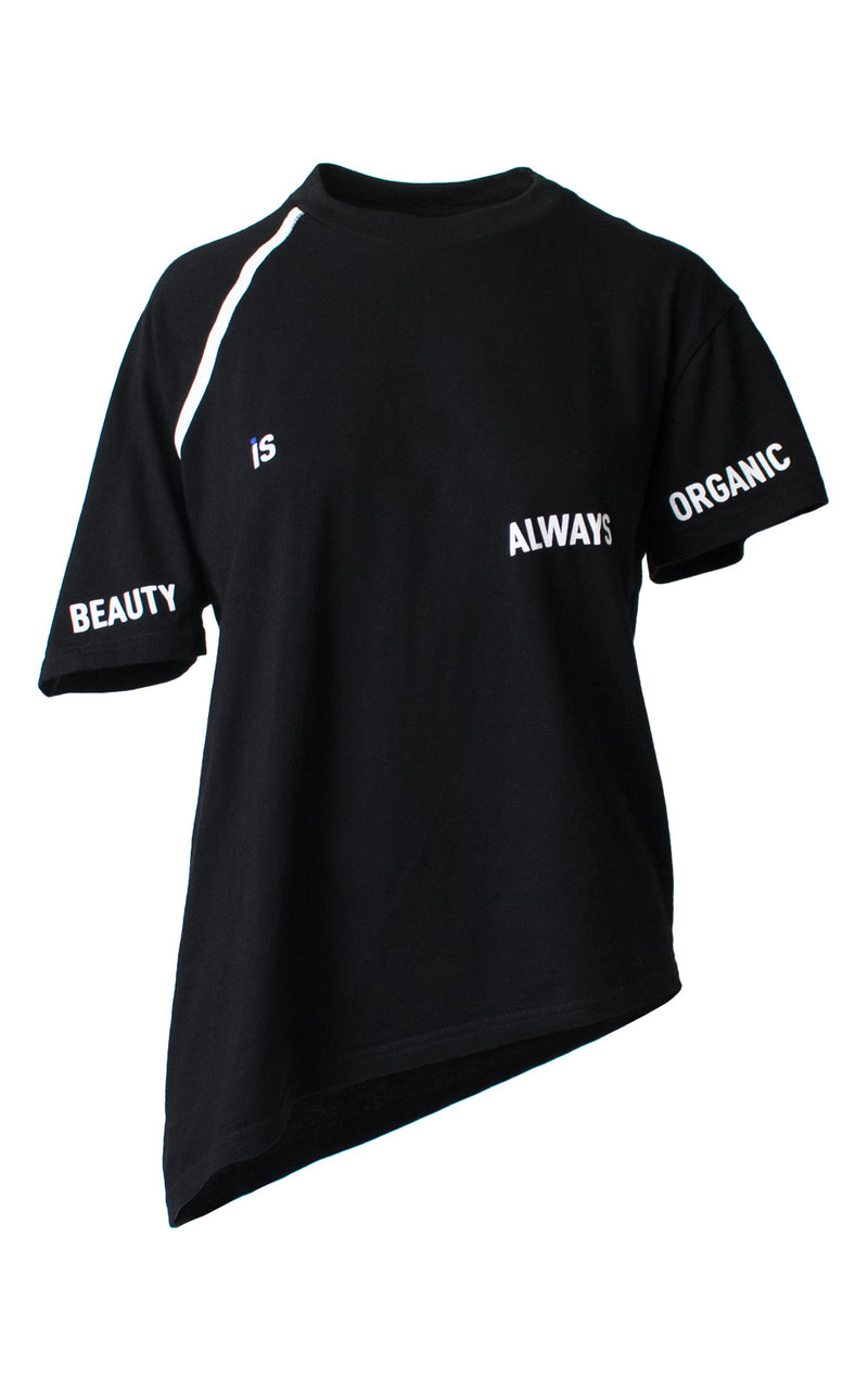 Black Asymmetrical Screen Printed Graphic Tee Front