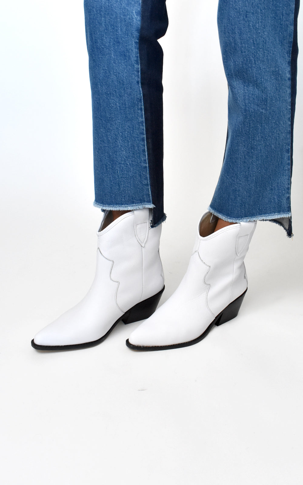 Sharp White Leather Cowboy Bootie