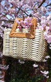 ARANAZ Wooden Beaded Rattan Handle Cerise Handbag Cream