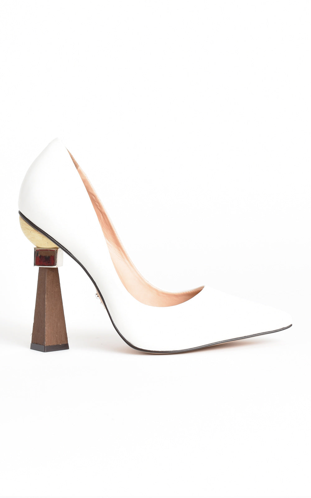 Geometrical Sculpted Stacked Wood Heel Leather Pumps White