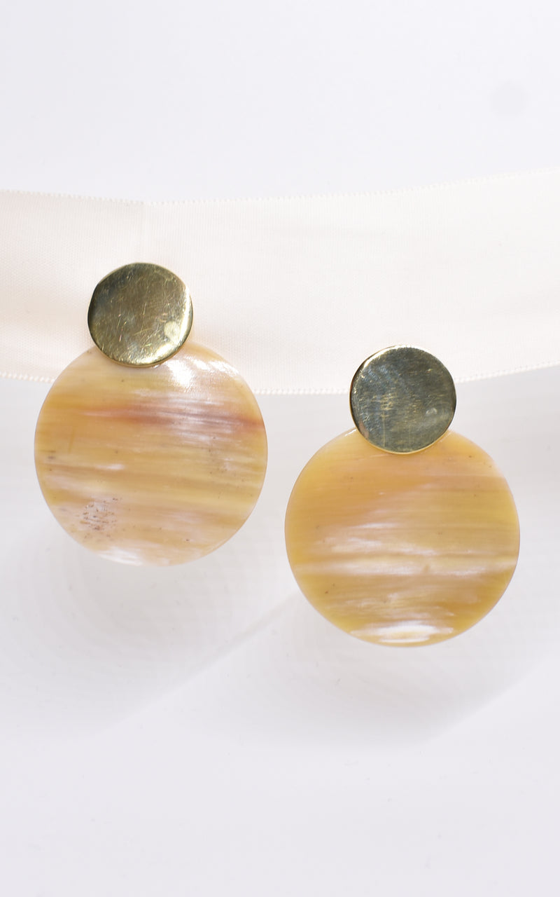 Soko Maxi Coin Contrast Natural Reclaimed Horn & Recycled Brass Stud Earrings