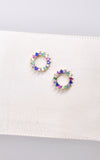 Shashi Rainbow Stone Circle Stud Earrings