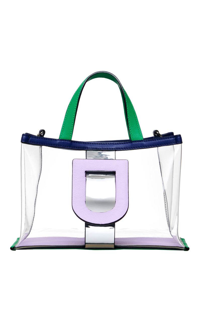 Harness Clear PVC & Leather Tote Handbag
