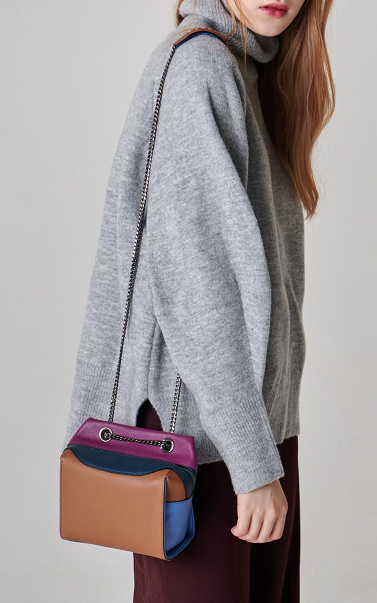 Leather Colorblock Crossbody Bag Camel
