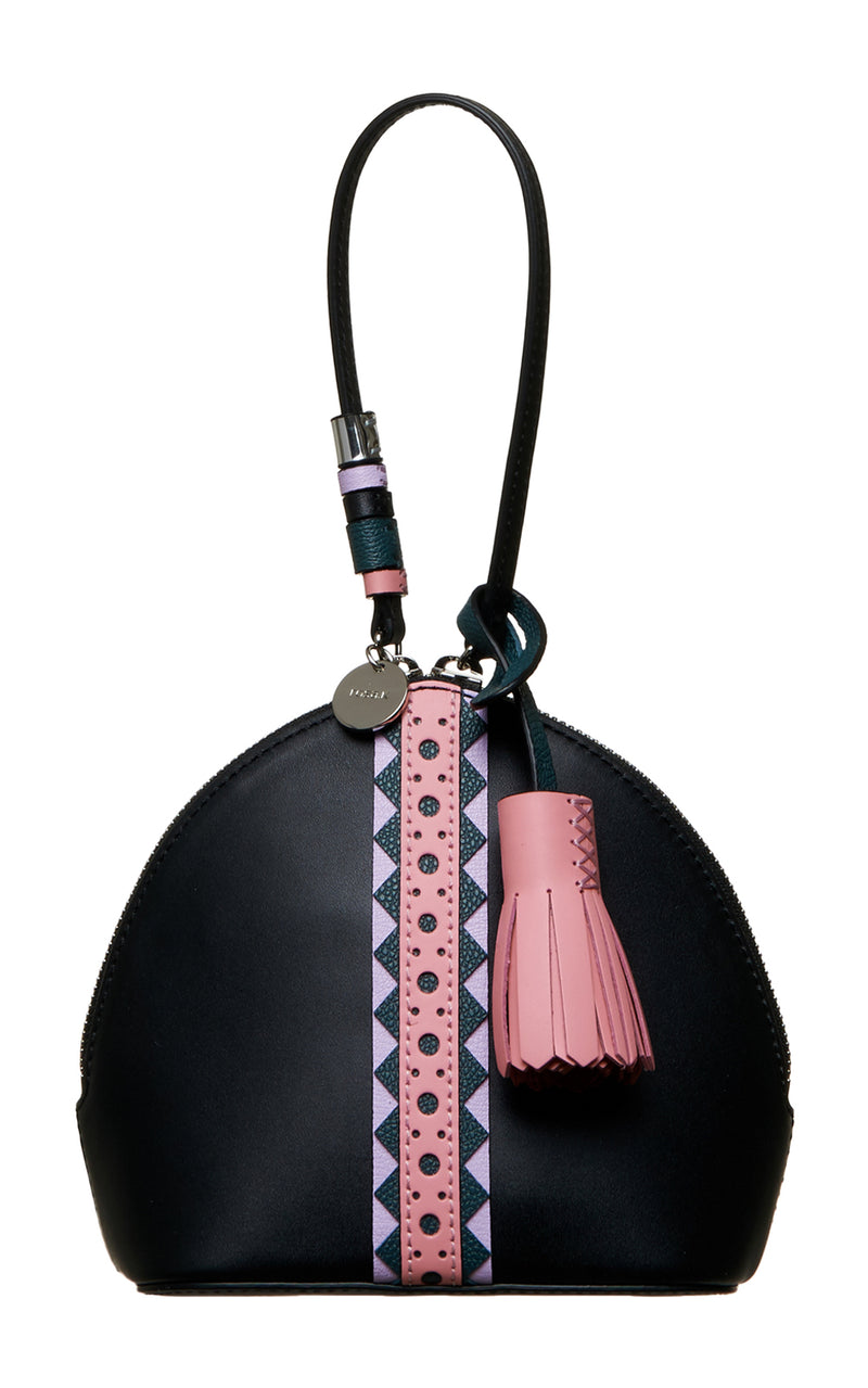 Tribal Black Pink Purple & Teal Hand Strap Mini Leather Handbag