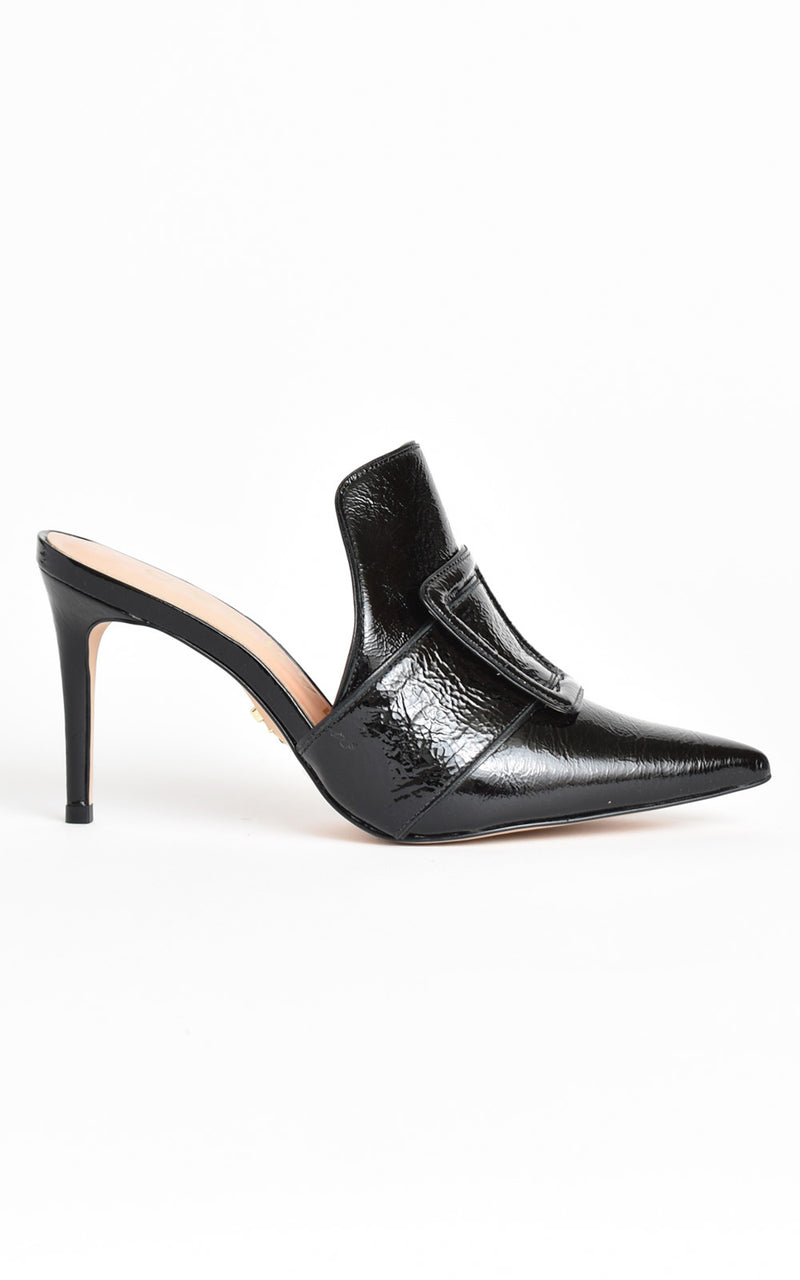 Carrano Buckle Mule Stiletto Heels Black
