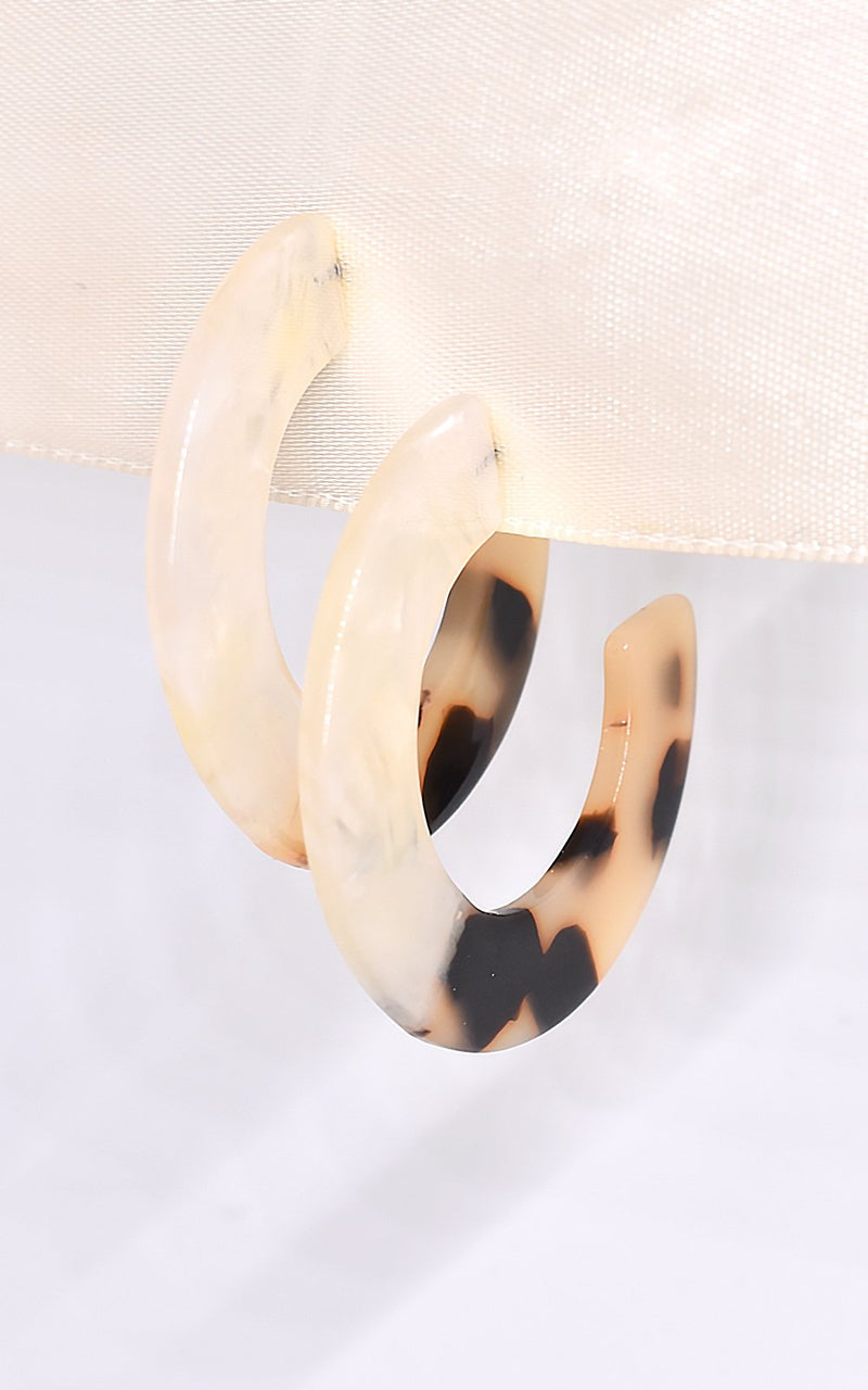 Shashi Peyton Lucite White/Tortoise Hoop Earrings