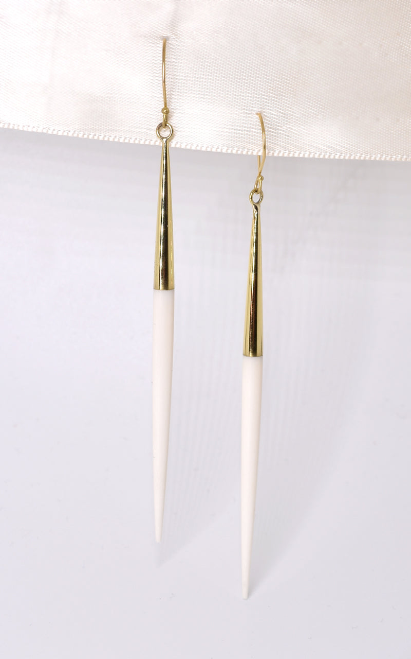 Soko Capped Quill Dangle Reclaimed Bone & Recycled Brass Earrings White