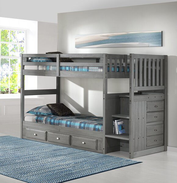 GREY TWIN / TWIN BUNK BED WITH STAIRCASE