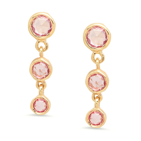 Cascading Trinity Pink Sapphire Earrings - Rosedale Jewelry