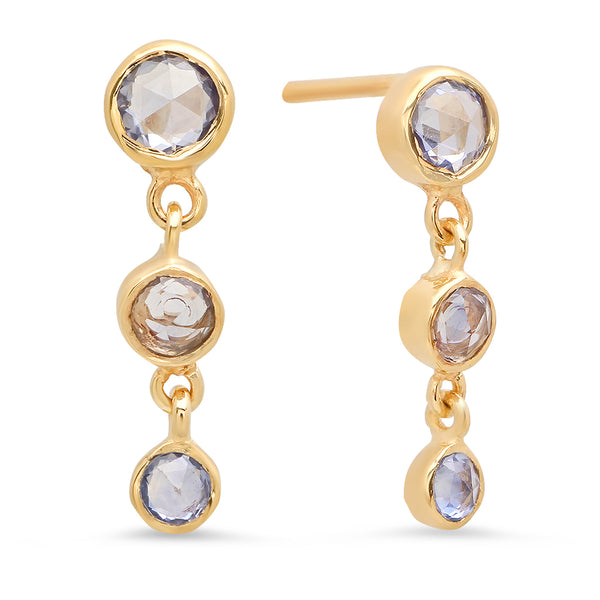 Cascading Trinity Blue Sapphire Earrings - Rosedale Jewelry