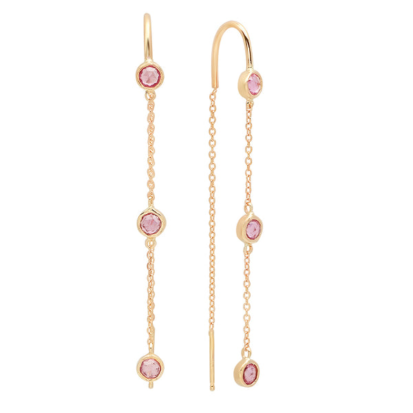 Trinity Chain Pink Sapphire Earrings - Rosedale Jewelry