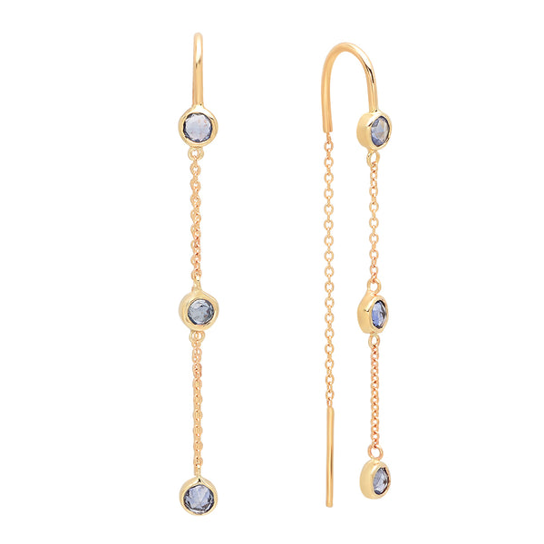 Trinity Chain Blue Sapphire Earrings - Rosedale Jewelry