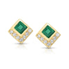 Emerald Chevron Studs - Rosedale Jewelry