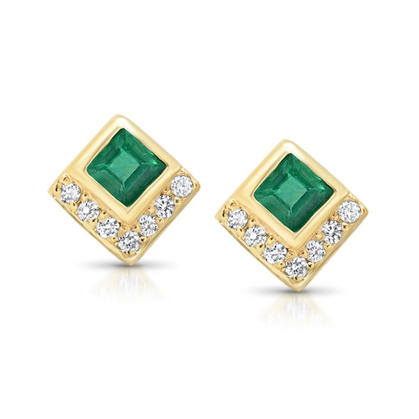 Emerald Chevron Studs - rosedale-jewelry