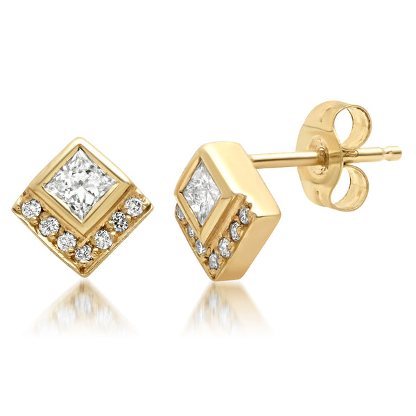 Diamond Chevron Studs - Rosedale Jewelry