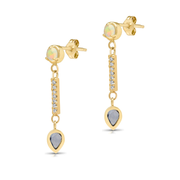 Opal Sapphire Dew Drop Earrings - Rosedale Jewelry