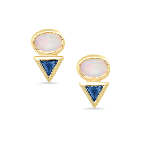 Eos II Opal & Sapphire Earrings - Rosedale Jewelry