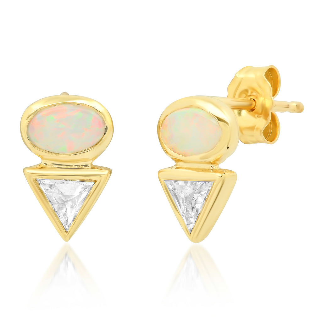 Eos III Opal & Diamond Earrings - Rosedale Jewelry