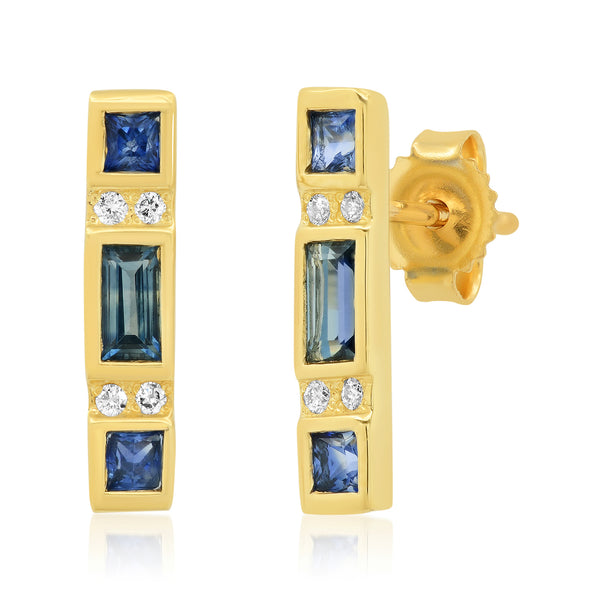 Sapphire Bar Earrings - Rosedale Jewelry