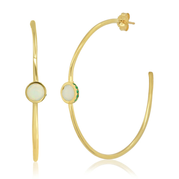 Opal Emerald Secret Garden Hoops - Rosedale Jewelry