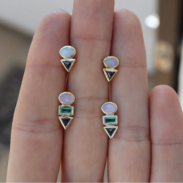 Eos II Opal & Sapphire Earrings - rosedale-jewelry