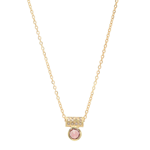 Pink Sapphire Tube Necklace - Rosedale Jewelry